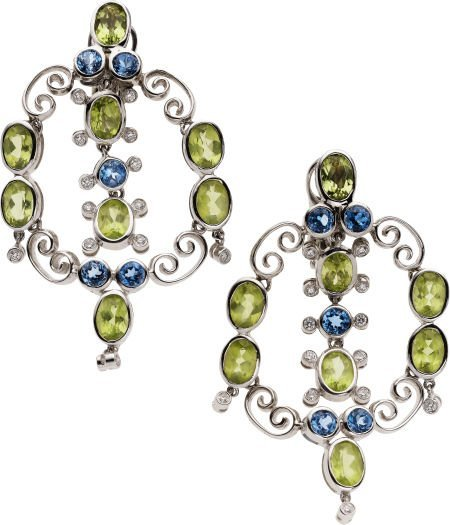 59255: Peridot, Blue Topaz, Diamond, White Gold Earring