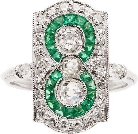 59256: Diamond, Emerald, White Gold Ring