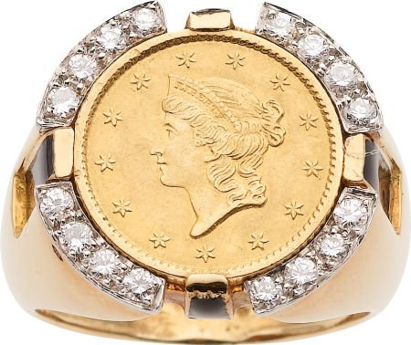 59257: Gold Coin, Diamond, Enamel, Gold Ring