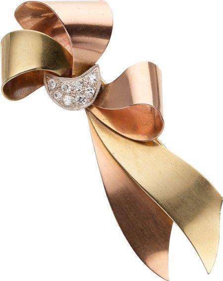 59259: Retro Diamond, Gold Brooch
