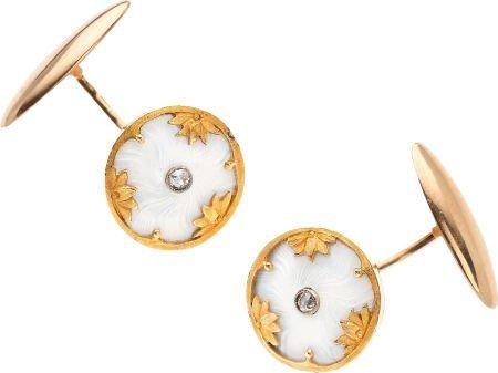 59261: Diamond, Enamel, Gold Cuff Links, Russian