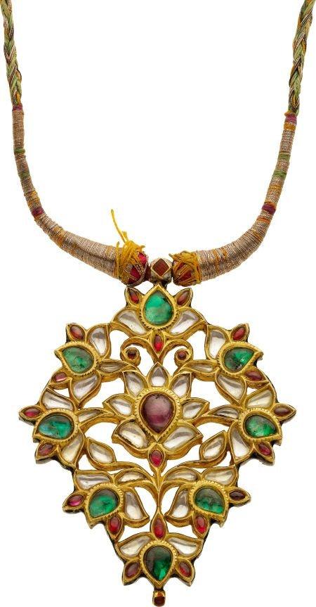 59352: Antique Multi-Gemstone, Gold, Silk, Kundan Penda