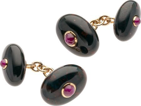 59262: Bloodstone Chalcedony, Ruby, Gold Cuff Links