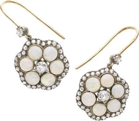 59264: Opal, Diamond, Silver-Topped Gold Earrings