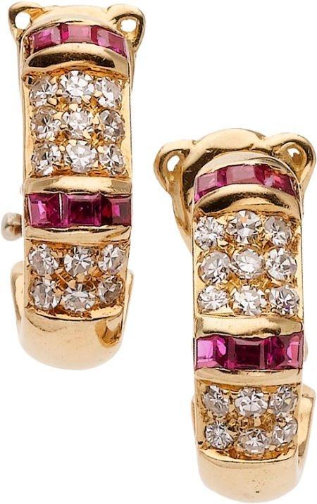 59266: Diamond, Ruby, Gold Earrings