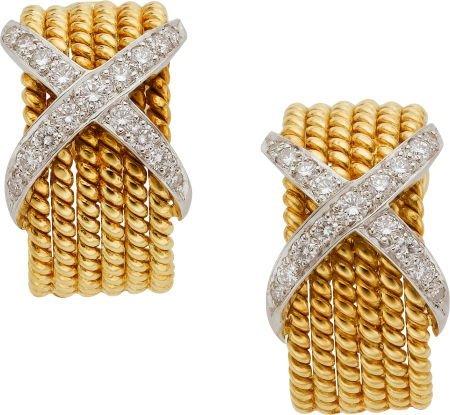 59272: Diamond, Platinum, Gold Earrings, Schlumberger,
