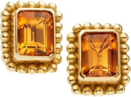 59276: Citrine, Gold Earrings, Reinstein/Ross
