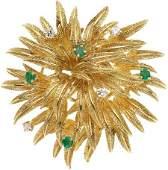 59301 Diamond Emerald Gold Brooch Tiffany  Co