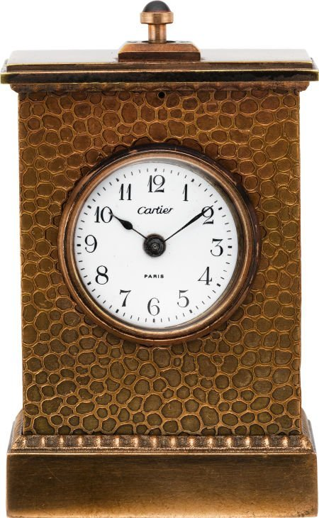 61002: Cartier Small Bronze Cased Minute Repeating Cloc