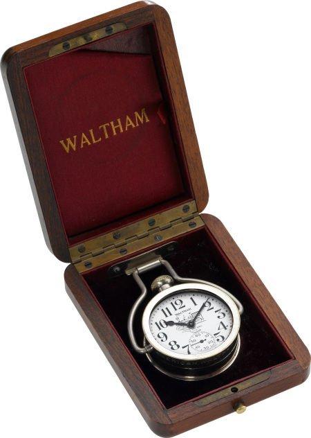 61212: Waltham Riverside Locomotive Dial, Wood Case, ci