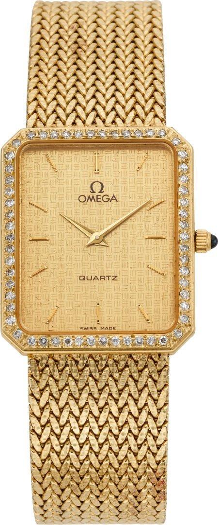 61214: Omega Gent's Diamond Bezel Gold Constellation, c