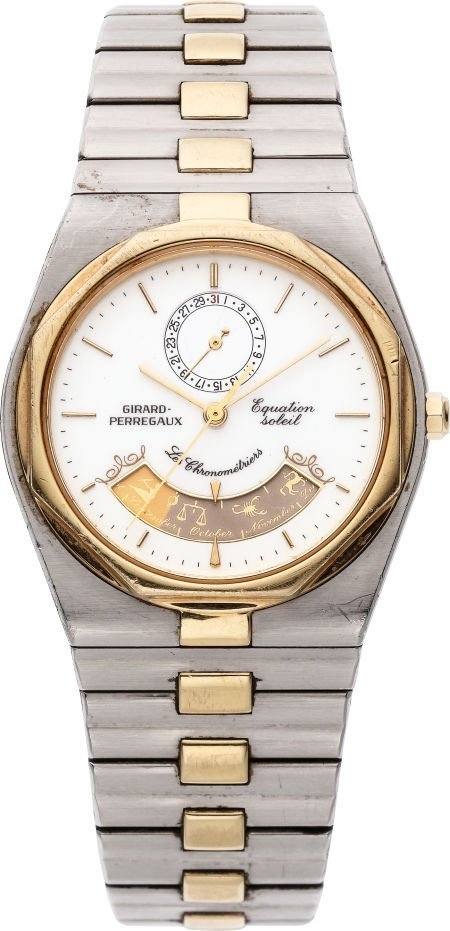 61217: Girard Perregaux Steel & Gold Watch With Calenda