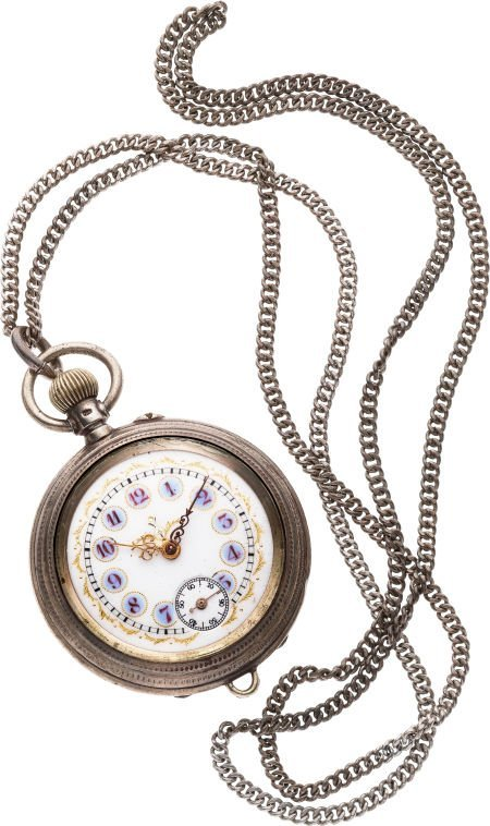 61218: Jacot Fancy Dial Silver Watch With Chain, circa