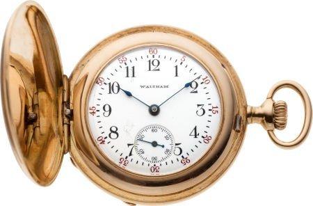 61219: Waltham Gold & Enamel Hunters Case Watch, circa