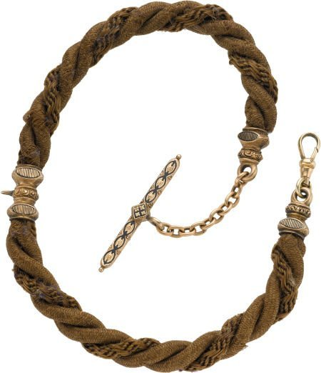 61223: Victorian Gilt & Enamel Hair Chain, circa 1875