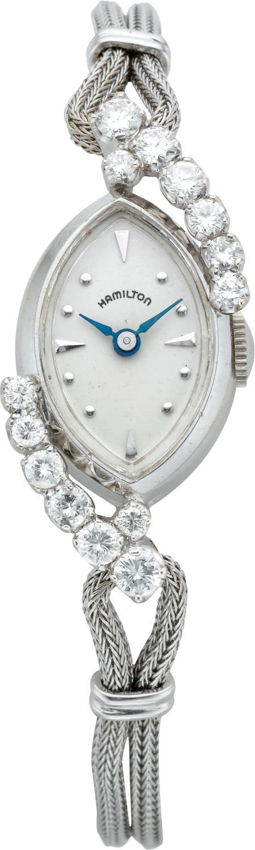 61224: Hamilton Lady's White Gold & Diamond Watch, circ