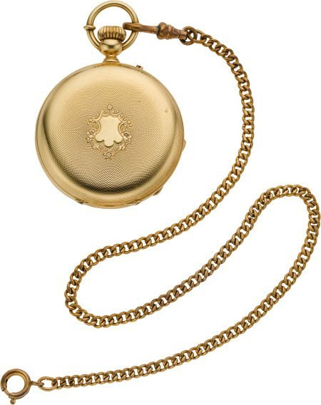 61225: Swiss Gold Hunters Case Pocket Watch With Box &