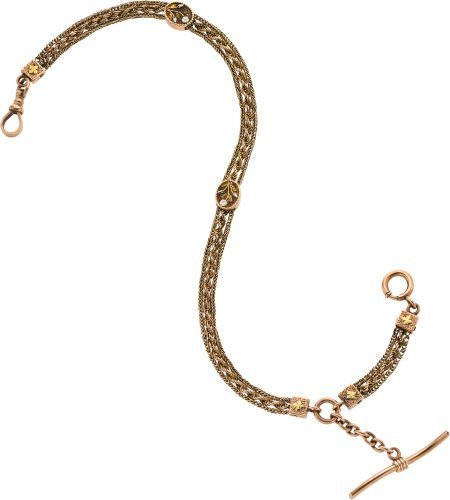 61228: Gold Watch Chain with Multicolor Slides, circa 1