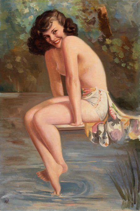 87720: AMERICAN ARTIST (20th Century) Bathing Beauty Oi