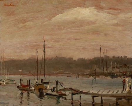 67010: HARRY P. CARNOHAN (American, 1904-1969) Dock Sce
