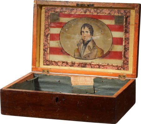 47009: William Henry Harrison: Rare Wooden Chest with C