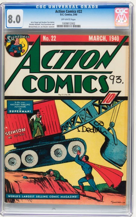 Action Comics #22 (DC, 1940) CGC VF 8.0 Off-white pages