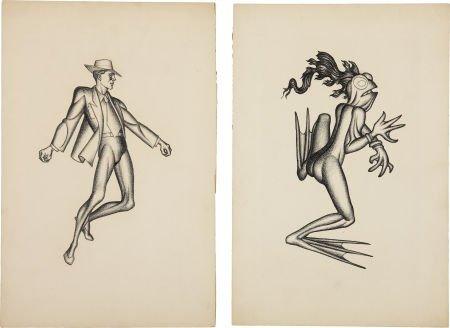 Hannes Bok Illustration Original Art Group (c. 1940s).