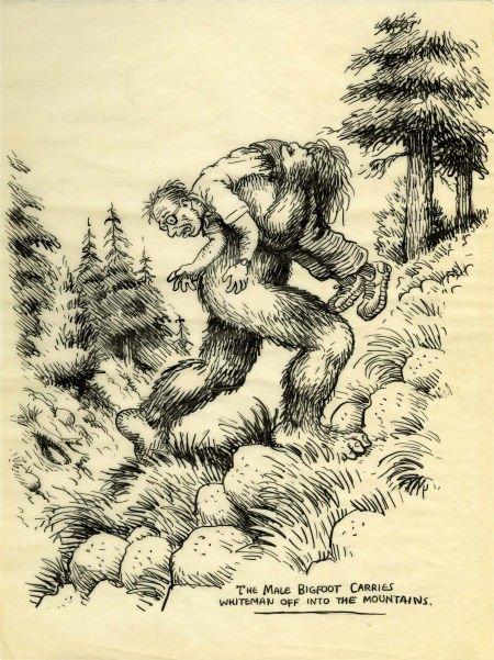 Robert Crumb Unpublished Whiteman Meets Bigfoot Illustr