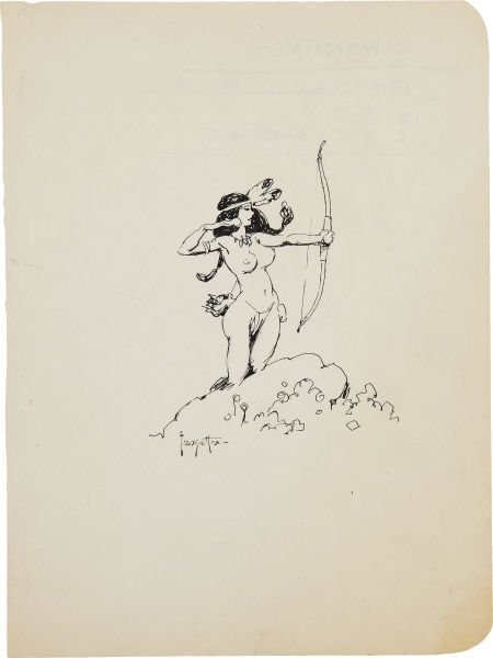 Frank Frazetta American Indian Girl with a Bow Ink Sket