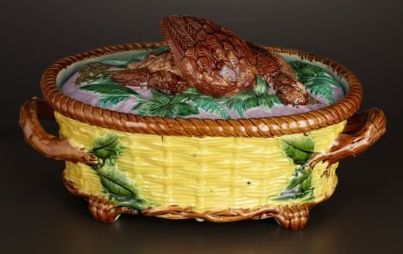 69004: A VICTORIAN MAJOLICA GAME DISH AND COVER  Attrib