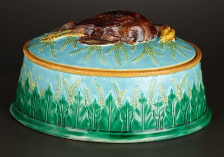 69006: A VICTORIAN MAJOLICA GAME DISH AND COVER  George
