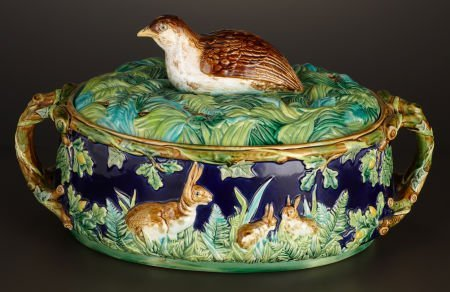 69010: A VICTORIAN MAJOLICA GAME DISH AND COVER WITH LI