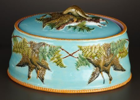 69012: A VICTORIAN MAJOLICA GAME DISH AND COVER WITH LI