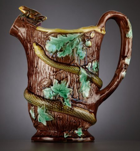 69019: A VICTORIAN PALISSY WARE JUG  Staffordshire, Eng
