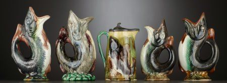 69287: FOUR VICTORIAN MAJOLICA 'GURGLING FISH' JUGS AND