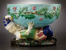 69039: A VICTORIAN MAJOLICA PUNCH BOWL  George Jones &
