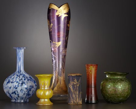 69326: A GROUP OF SIX VARIOUS ART GLASS VASES  Early 20
