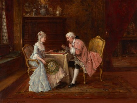 79019: LAJOS BRUCK (Hungarian, 1846-1910) The Chess Gam