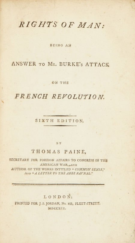 Thomas Paine. Rights of Man: Being an Answer to Mr. Bur