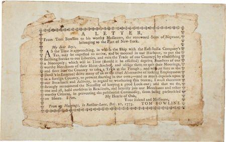 "34001: Revolutionary War Printed Broadside: ""Tom Bowlin"