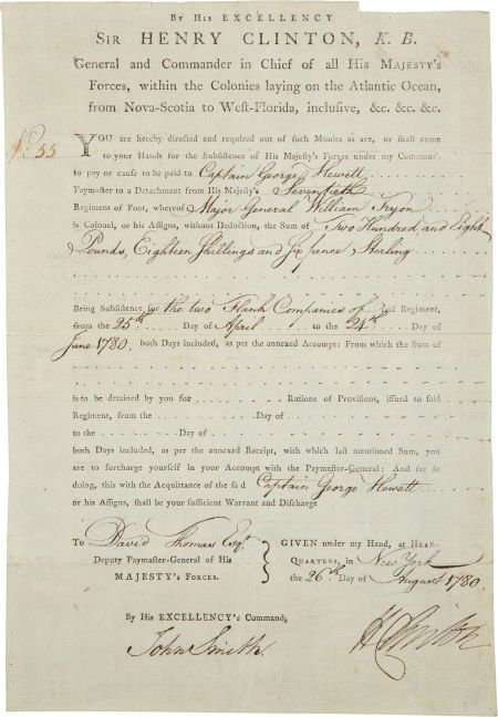 34002: Sir Henry Clinton Document Signed. One partly-pr