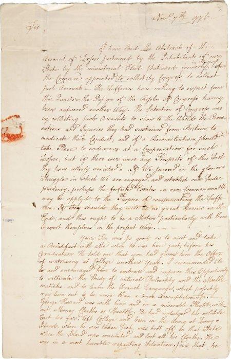 "34003: William Ellery Autograph Letter Signed (""W. E."")"