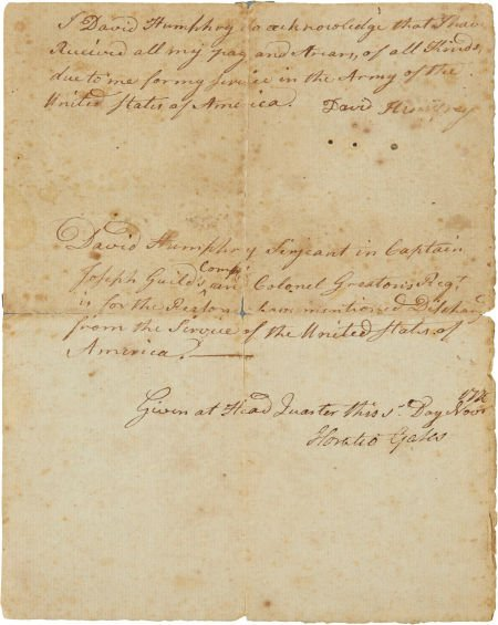 34004: Horatio Gates Discharge Document Signed. Two pag