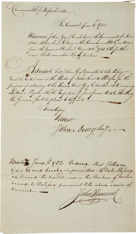 34005: John Hancock Document Signed during the Revoluti