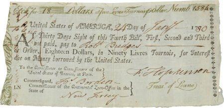 34006: Francis Hopkinson Bill of Exchange Signed as U.S