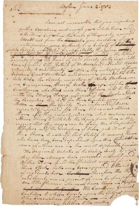 34007: [Governor John Parr] Scotch Society of Boston Au