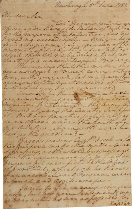 34008: George Washington Autograph Letter Signed. One a