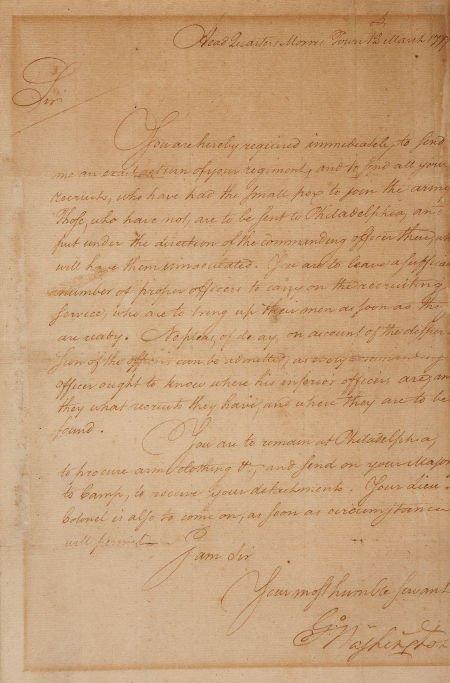 34009: George Washington Letter Signed. The manuscript