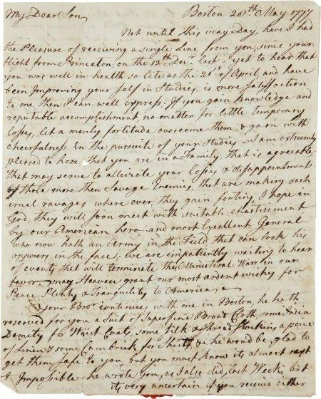 34017: William Vernon Sr. Autograph Letter Signed. Two