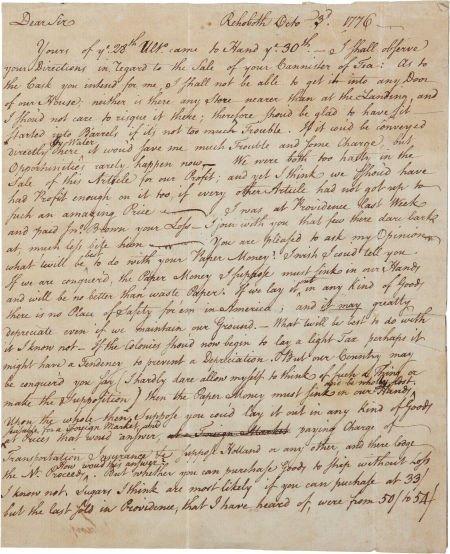 34022: [William Vernon] Samuel Sanford Autograph Letter